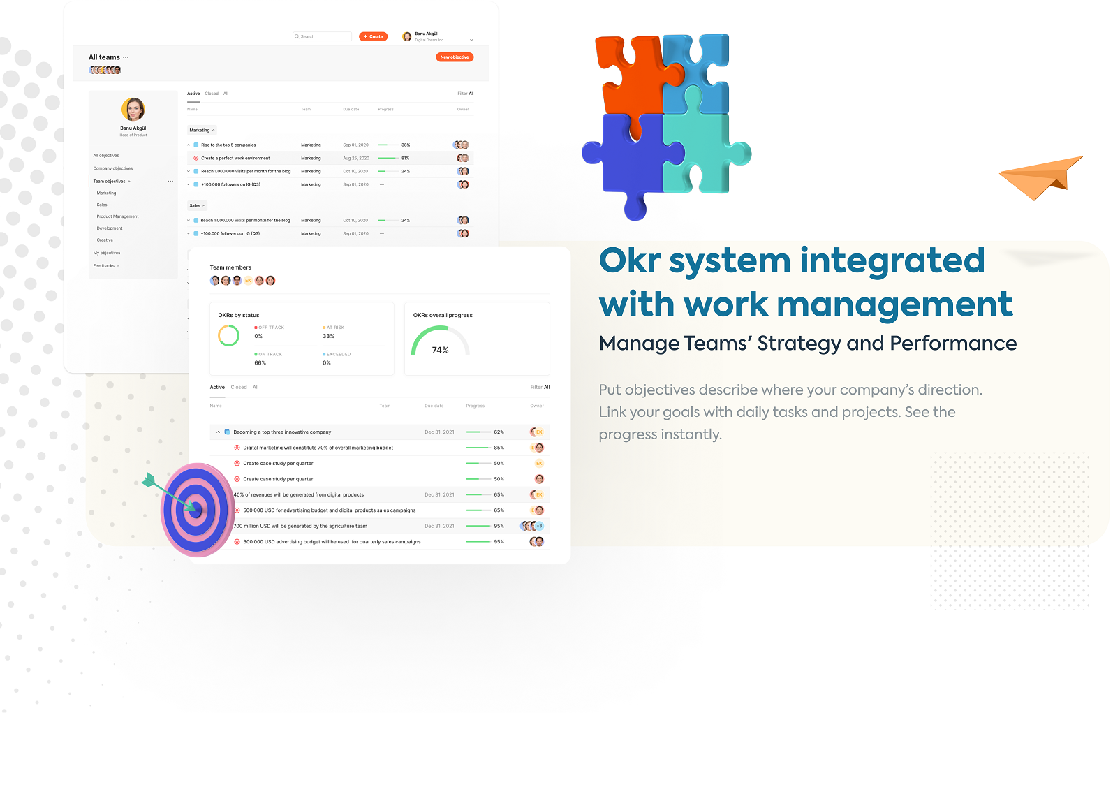 OKR sytem integrated with work management Manage Teams' Strategy and Performance Put Objectives describe where your company's direction. Link your goals with daily task and projects. See the progress instantly.