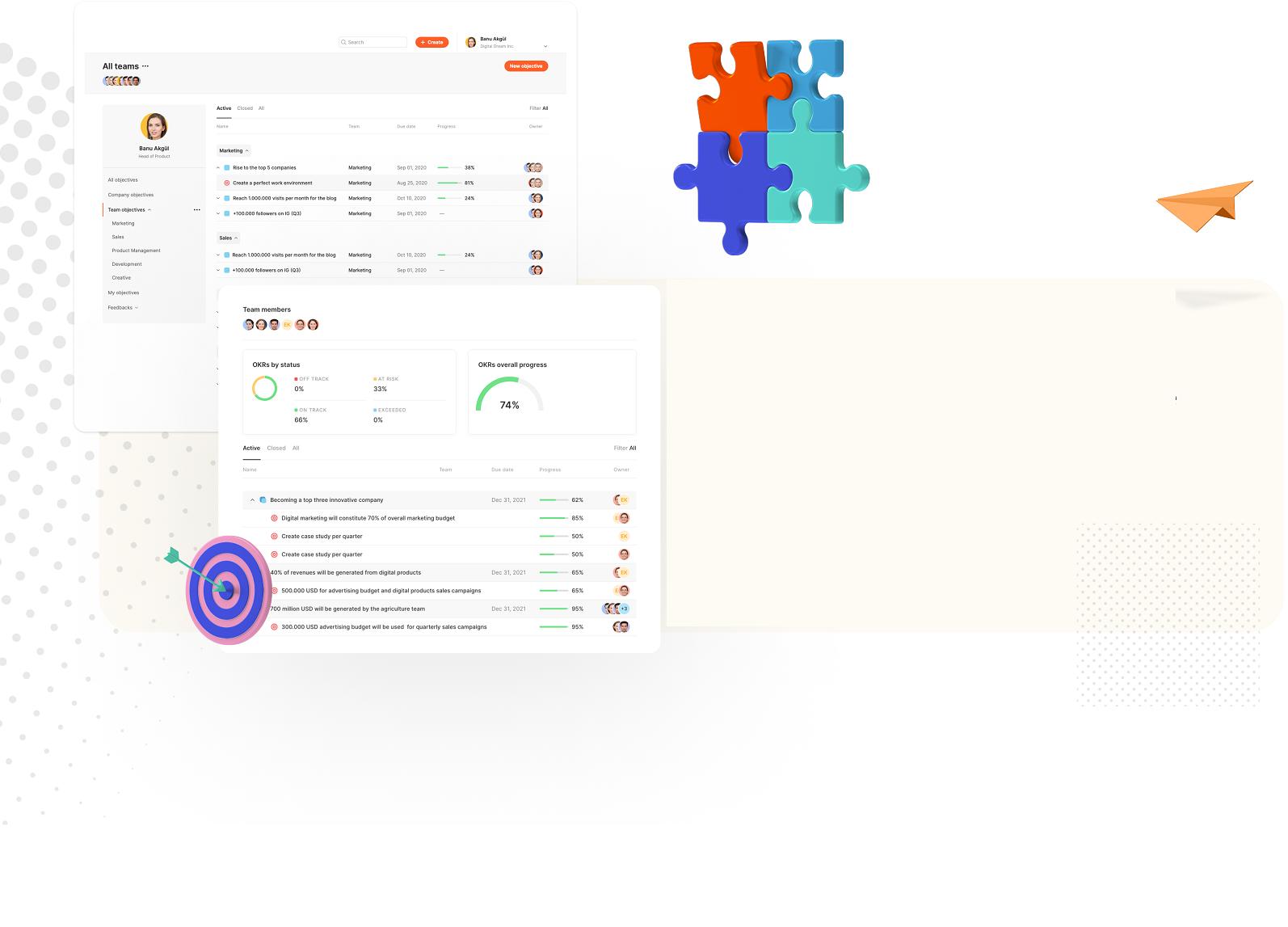 OKR sytem integrated with work management